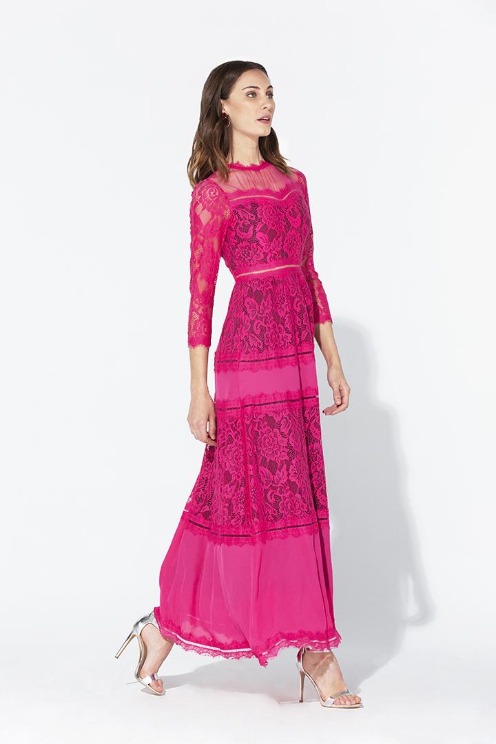 Vestido de encaje y georgette fucsia