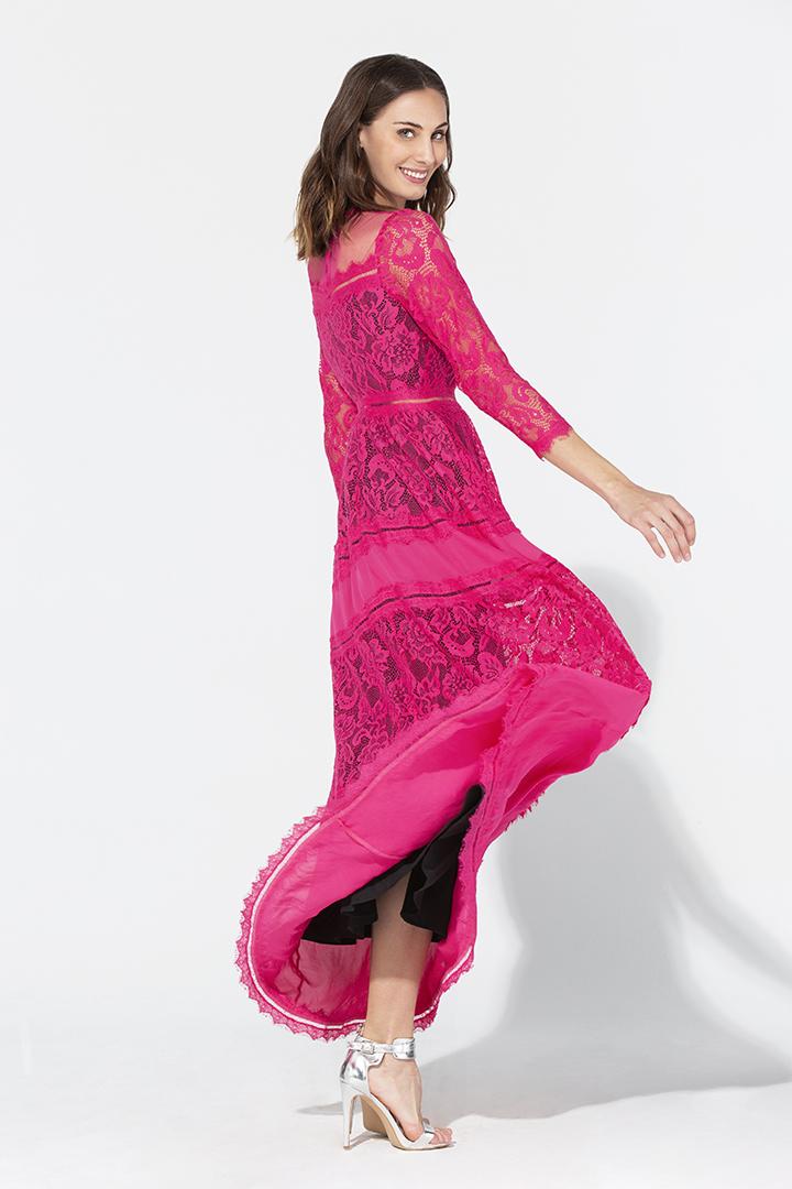 Vestido de encaje y georgette