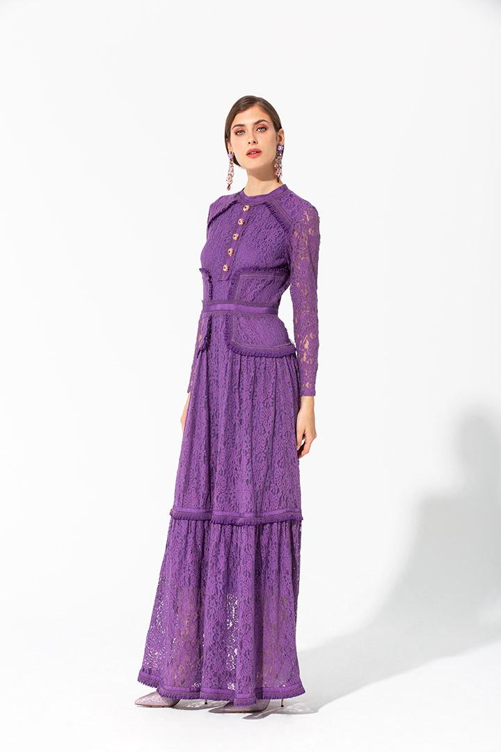 Vestido largo de encaje elástico