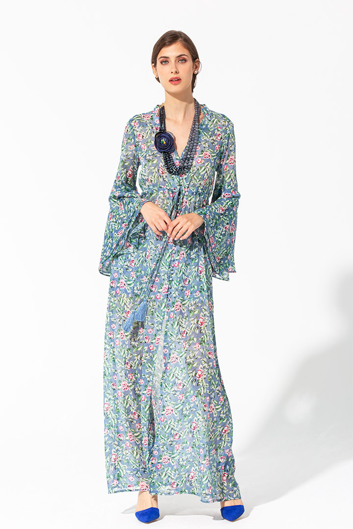 Vestido vaporoso camisero azul