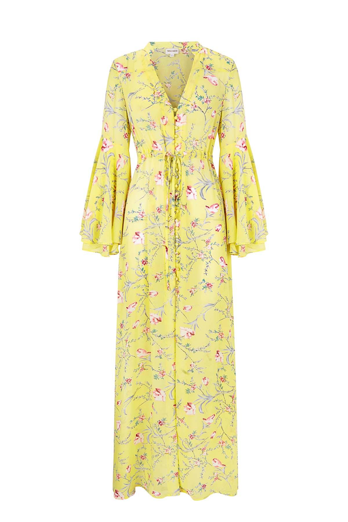 Teria Yabar - Vestido vaporoso amarillo