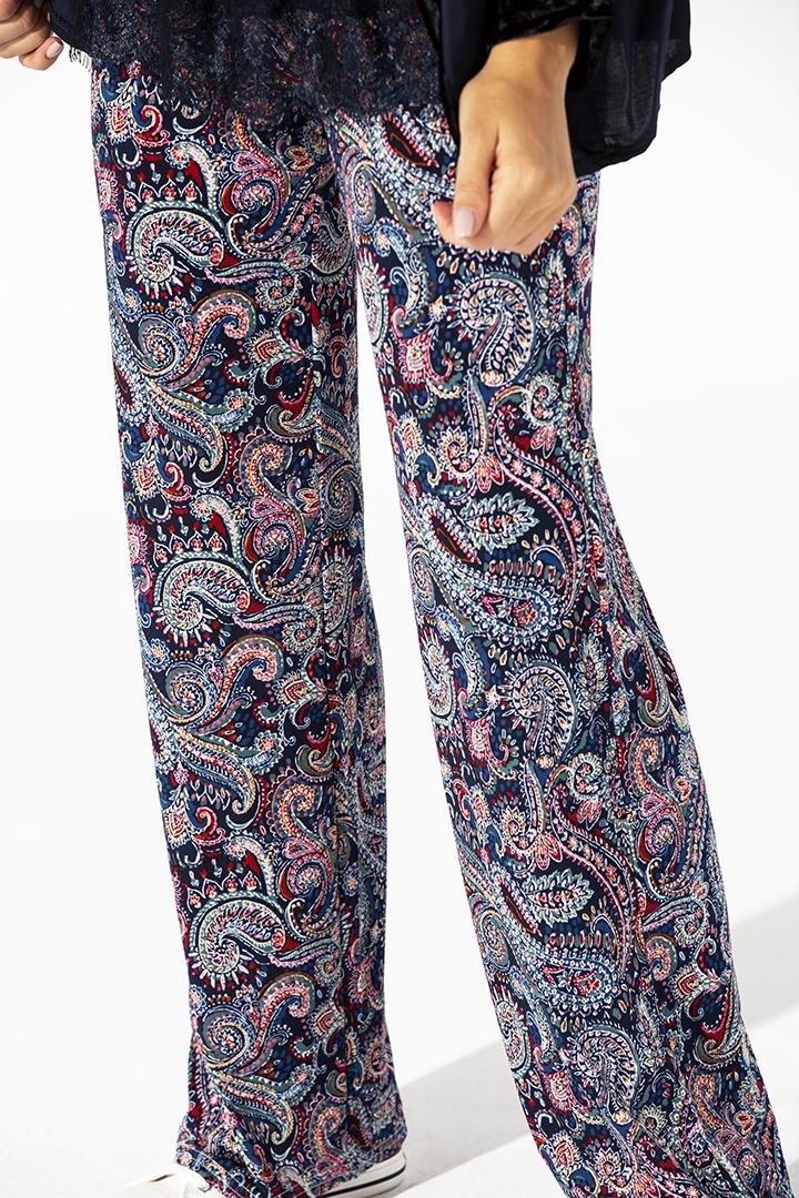 Pantalón flare fantasía y paisley azul