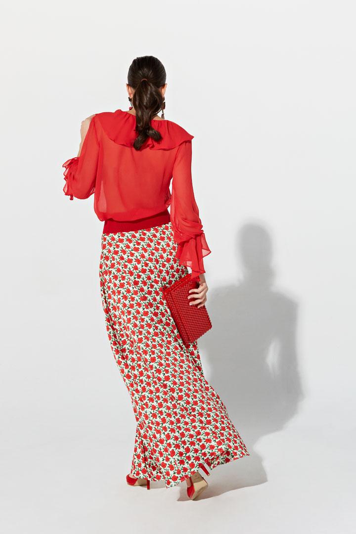 Blusa transparente roja