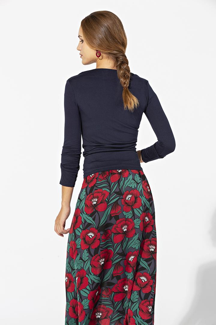 Falda de flores con abotonadura delantera