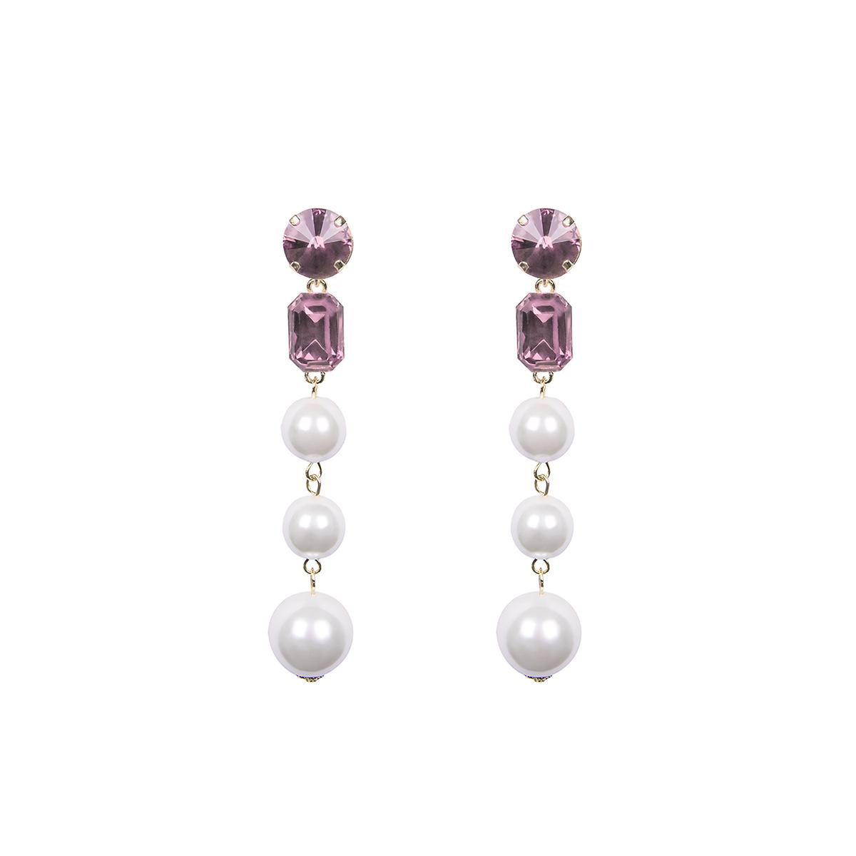 Teria Yabar - Pendientes de perlas y cristal rosa