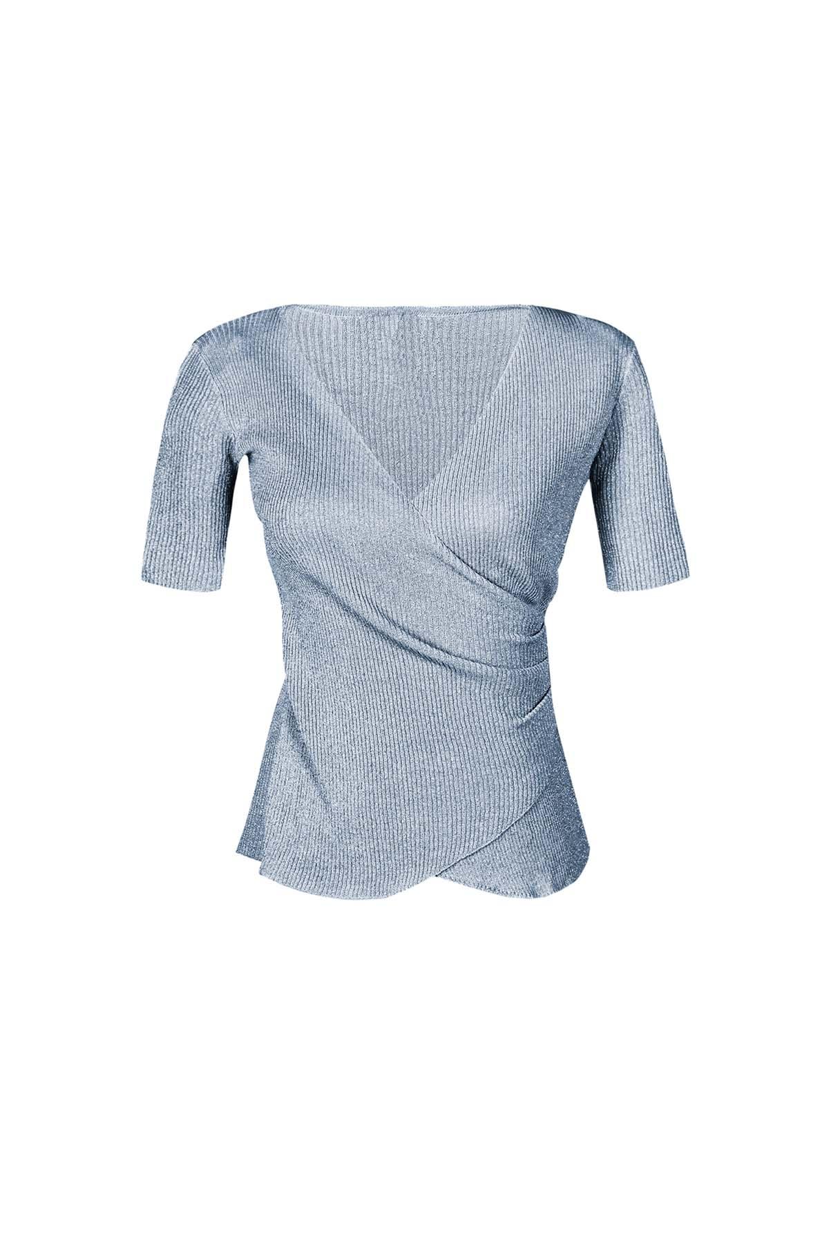 Teria Yabar - Jersey de canalé azul