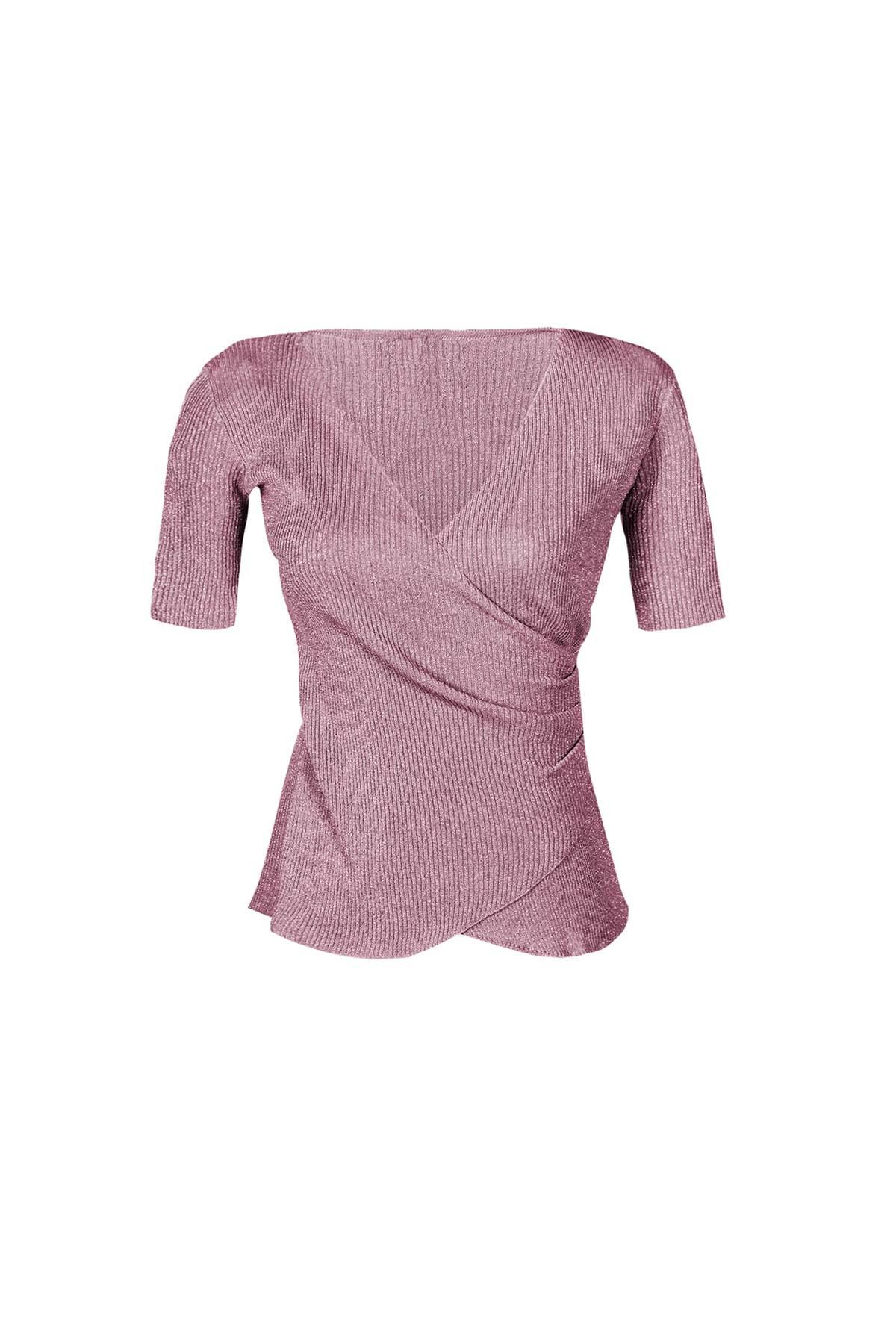 Teria Yabar - Jersey de canalé rosa