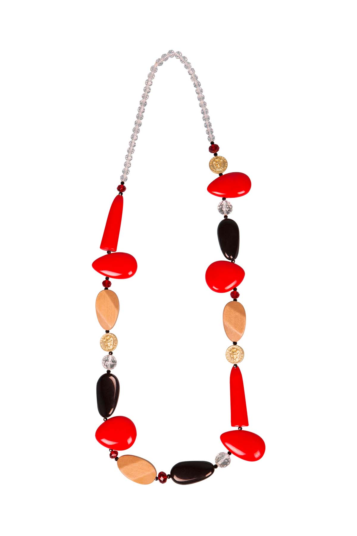 Teria Yabar - Collar largo de resina rojo