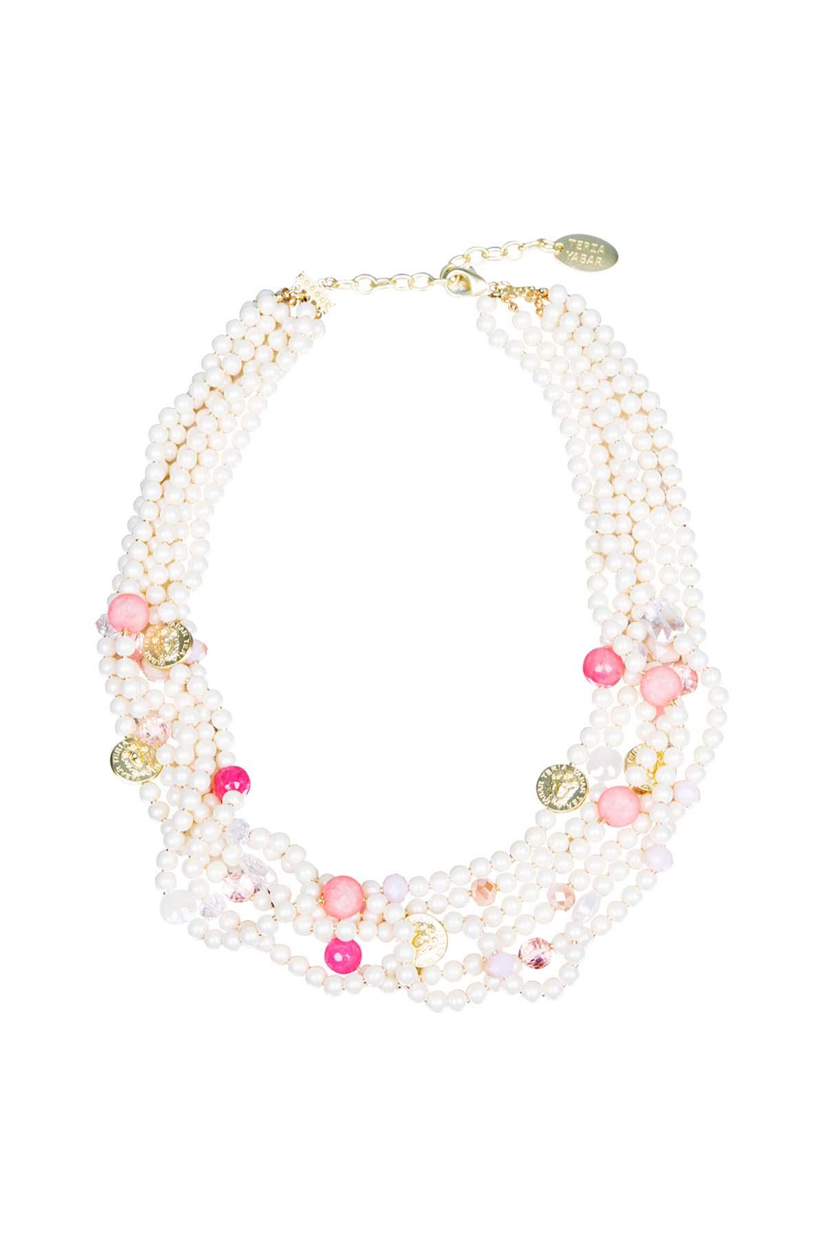 Teria Yabar - Collar de perlas y bolas de resina