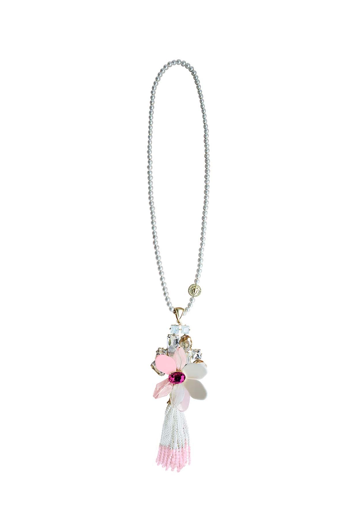 Teria Yabar - Collar largo con flor rosa