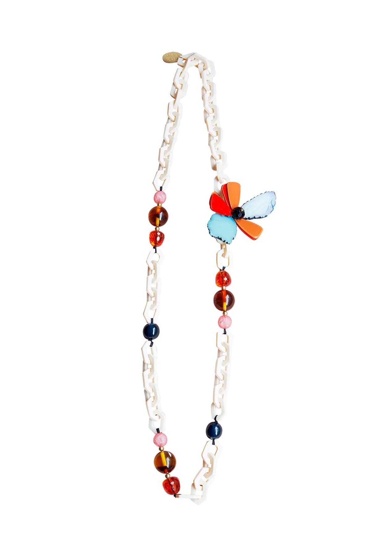 Teria Yabar - Collar de cadena y flor multicolor