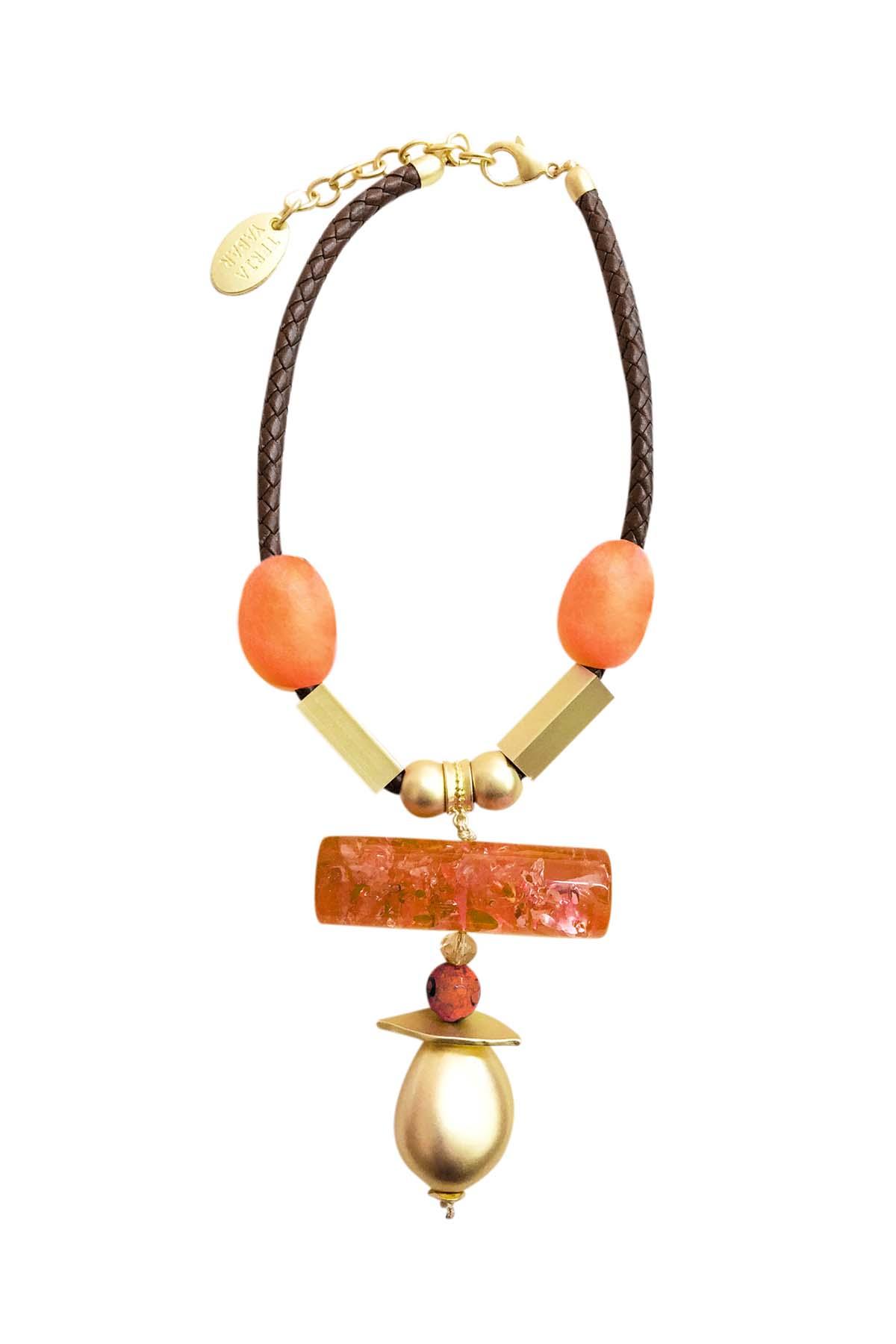 Teria Yabar - Collar naranja étnico