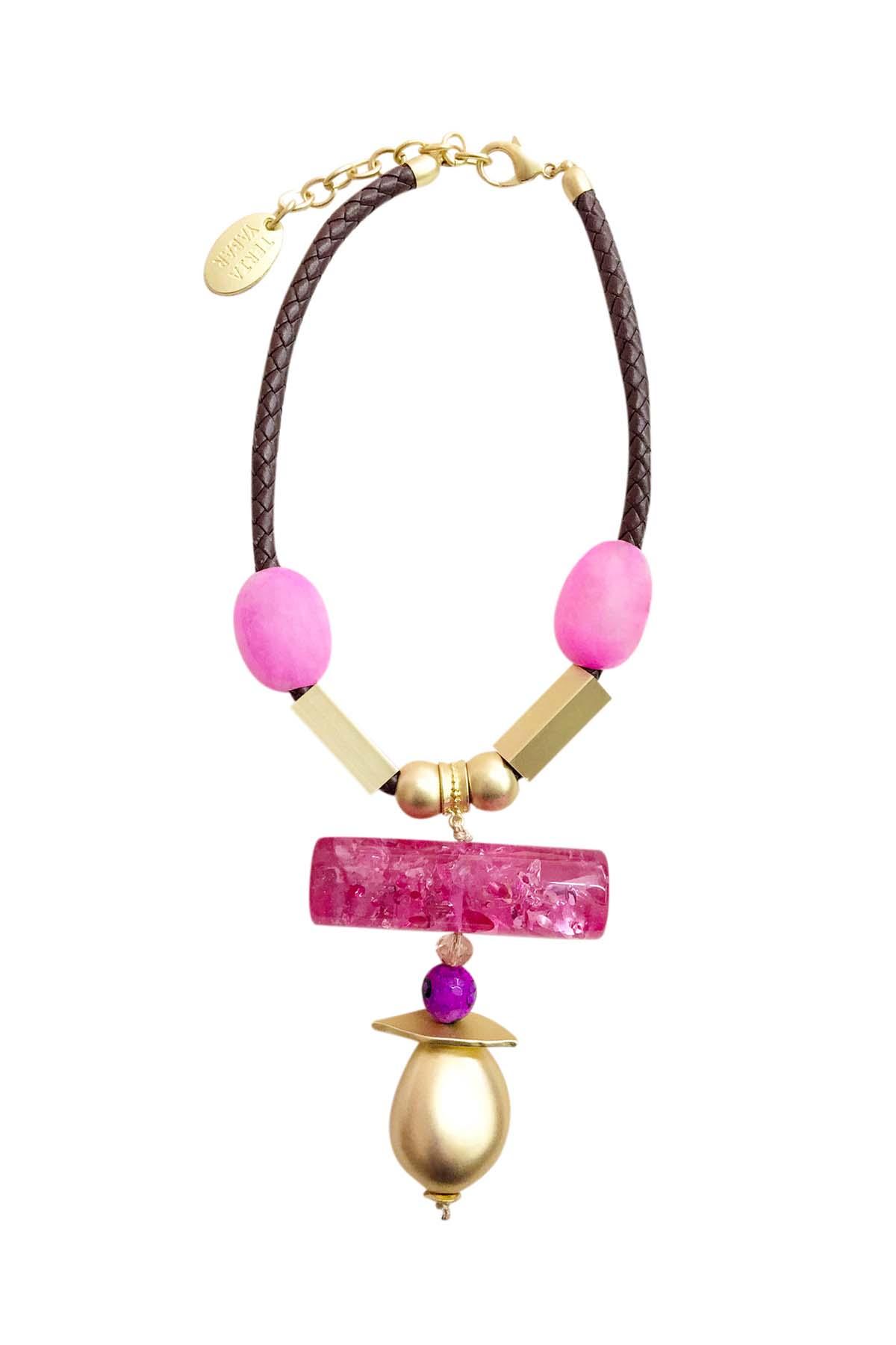 Teria Yabar - Collar rosa étnico