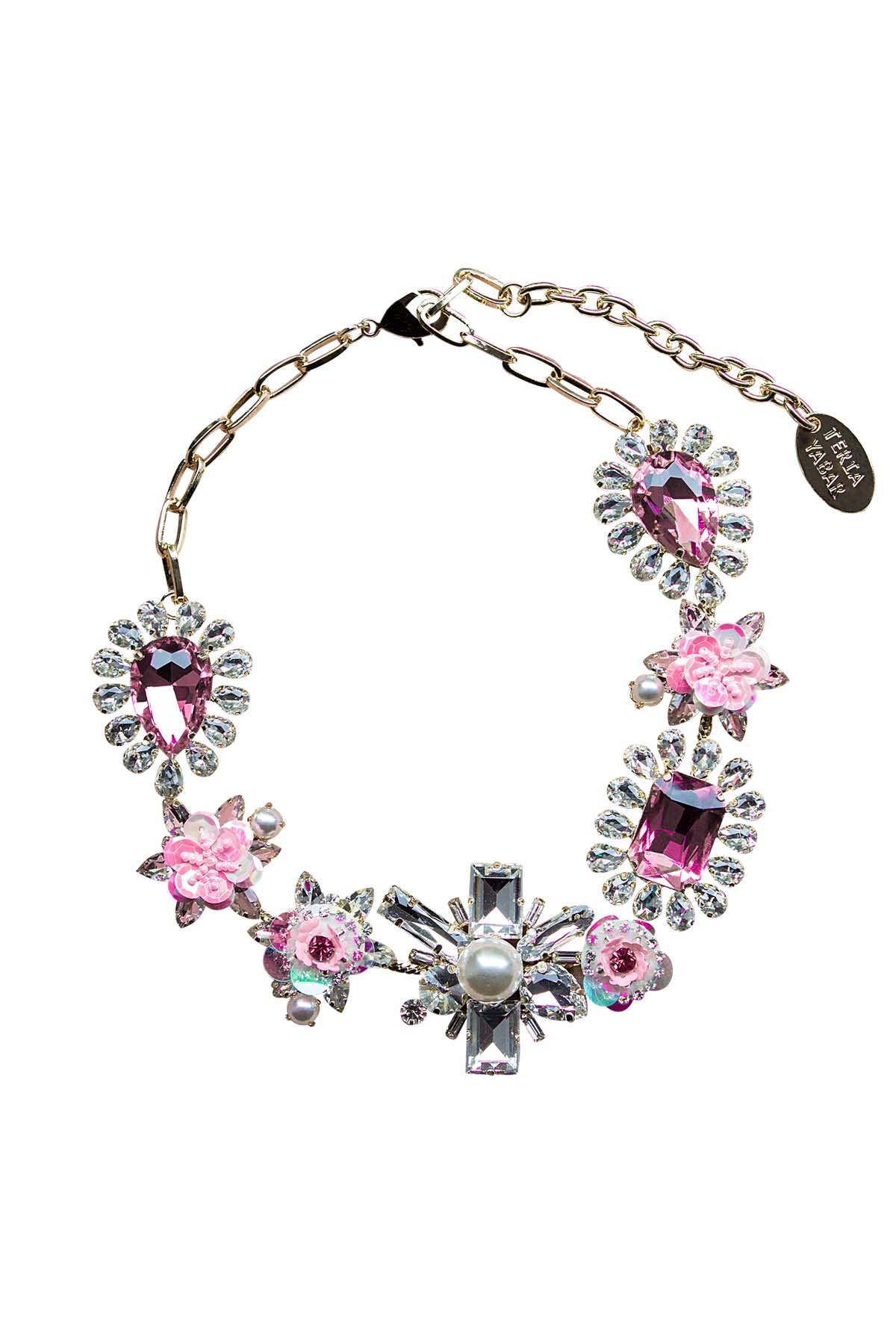 Teria Yabar - Collar de cristales y flores