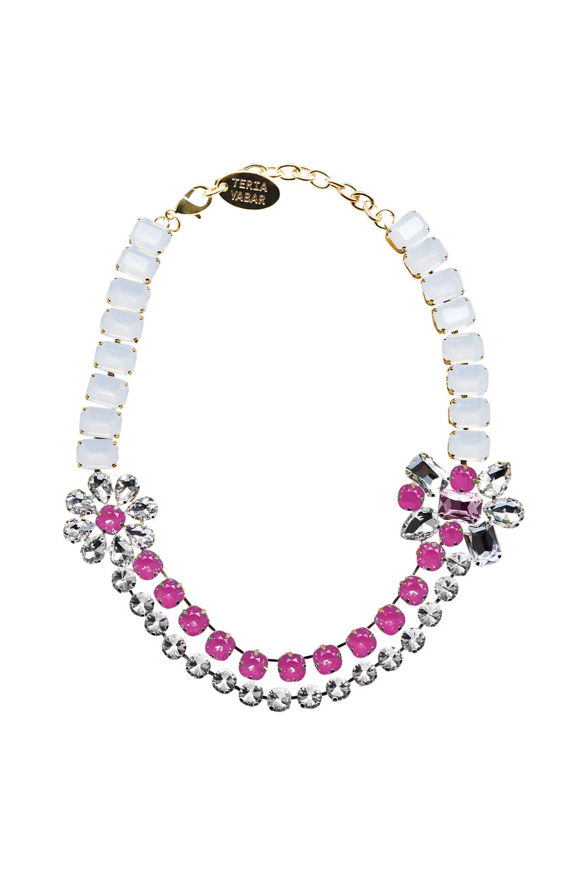 Teria Yabar - Collar joya de cristal y resina rosa