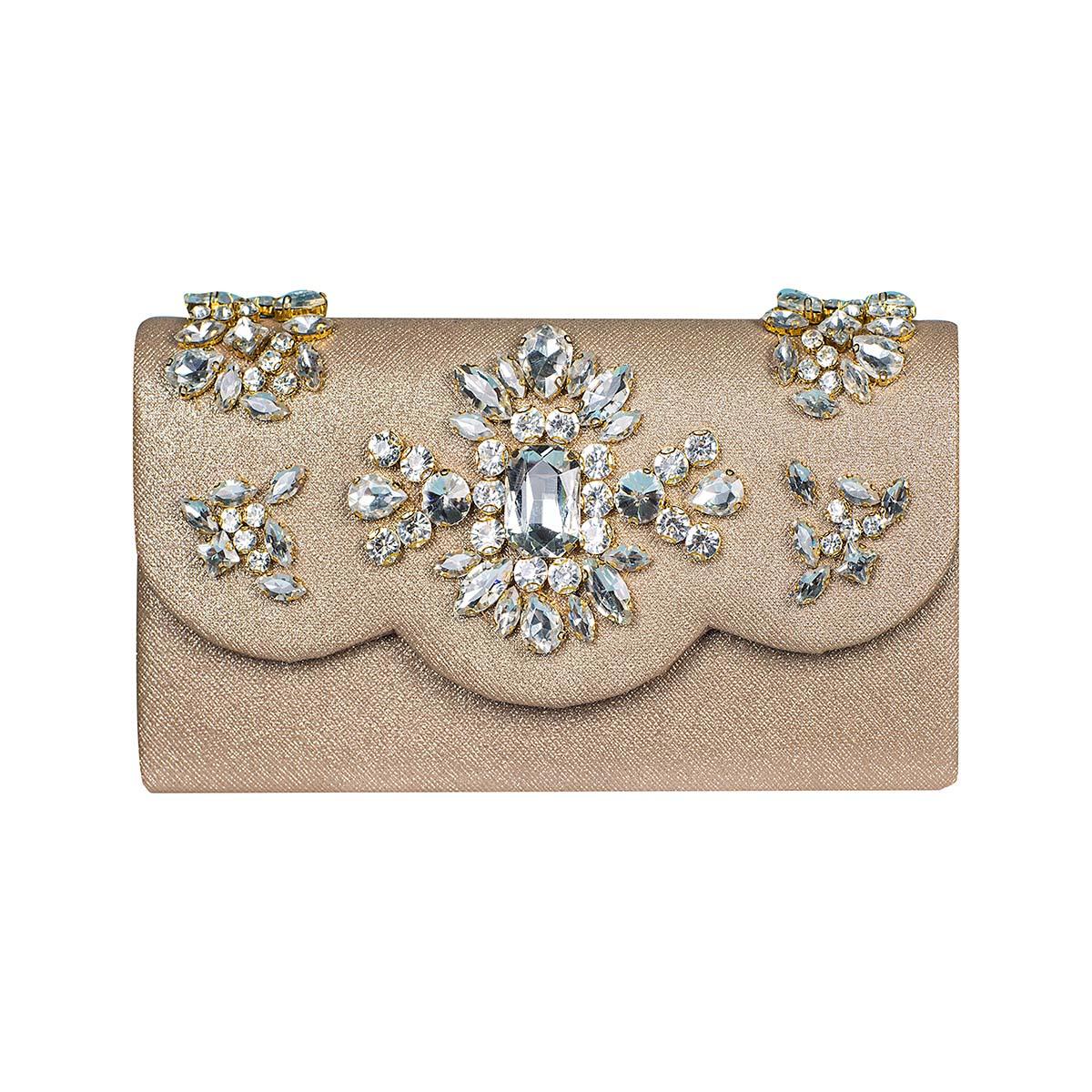 Teria Yabar - Bolso mini dorado con cristal