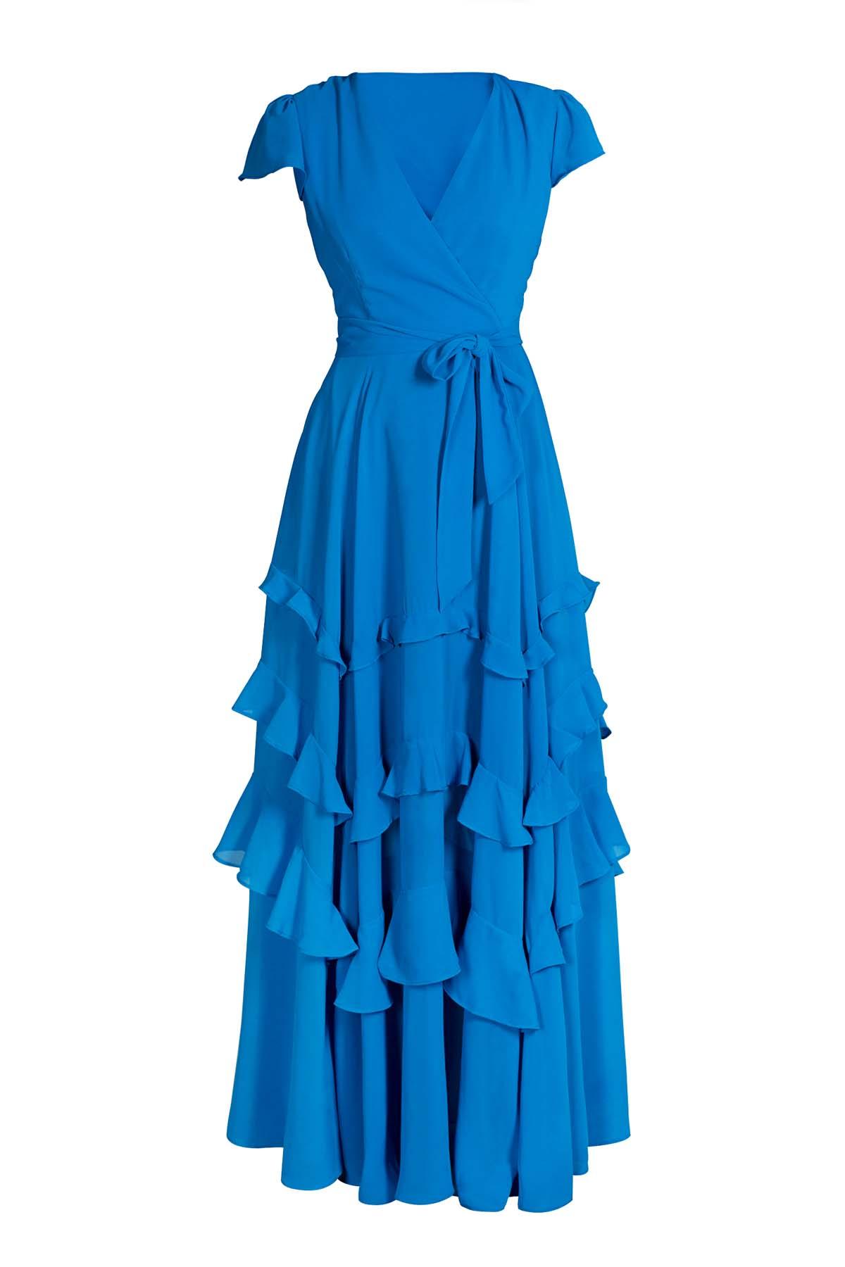 Teria Yabar - Vestido de gasa azul