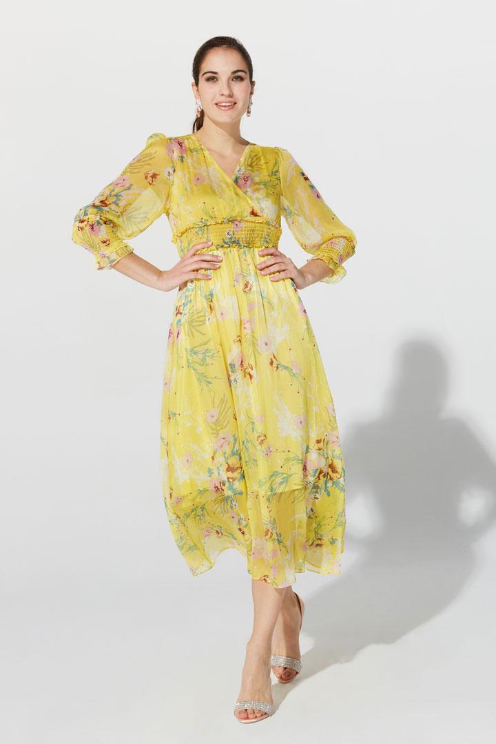 Vestido amarillo estampado floral