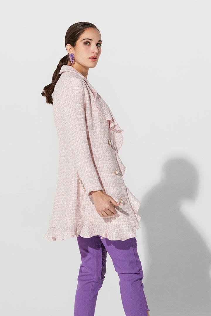 Vestido abrigo de cheviot rosa