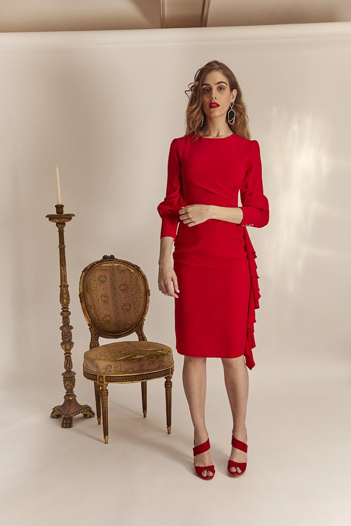 Vestido rojo drapeado