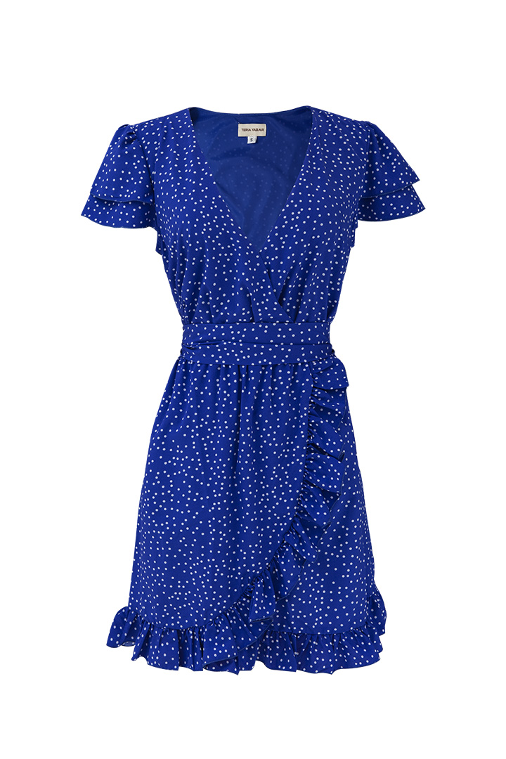 Vestido azul cortito de lunares TERIA YABAR