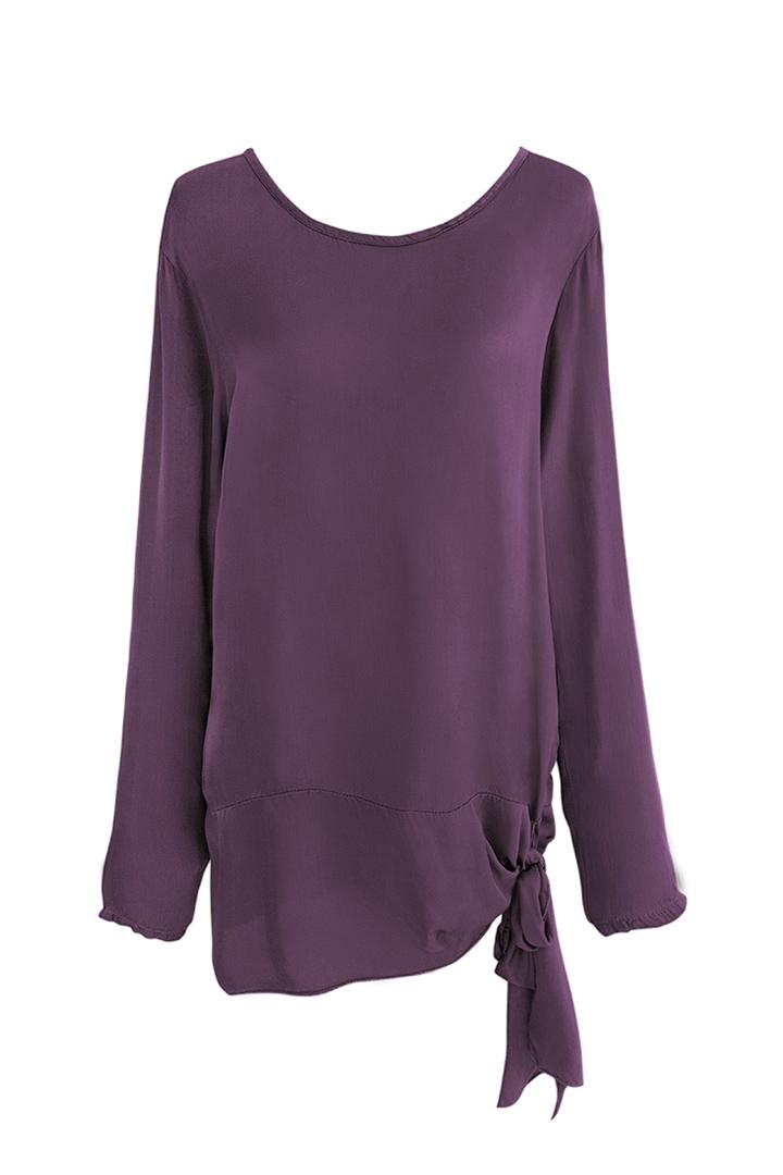 Camisa Morada con Lazada Basic Teria Yabar