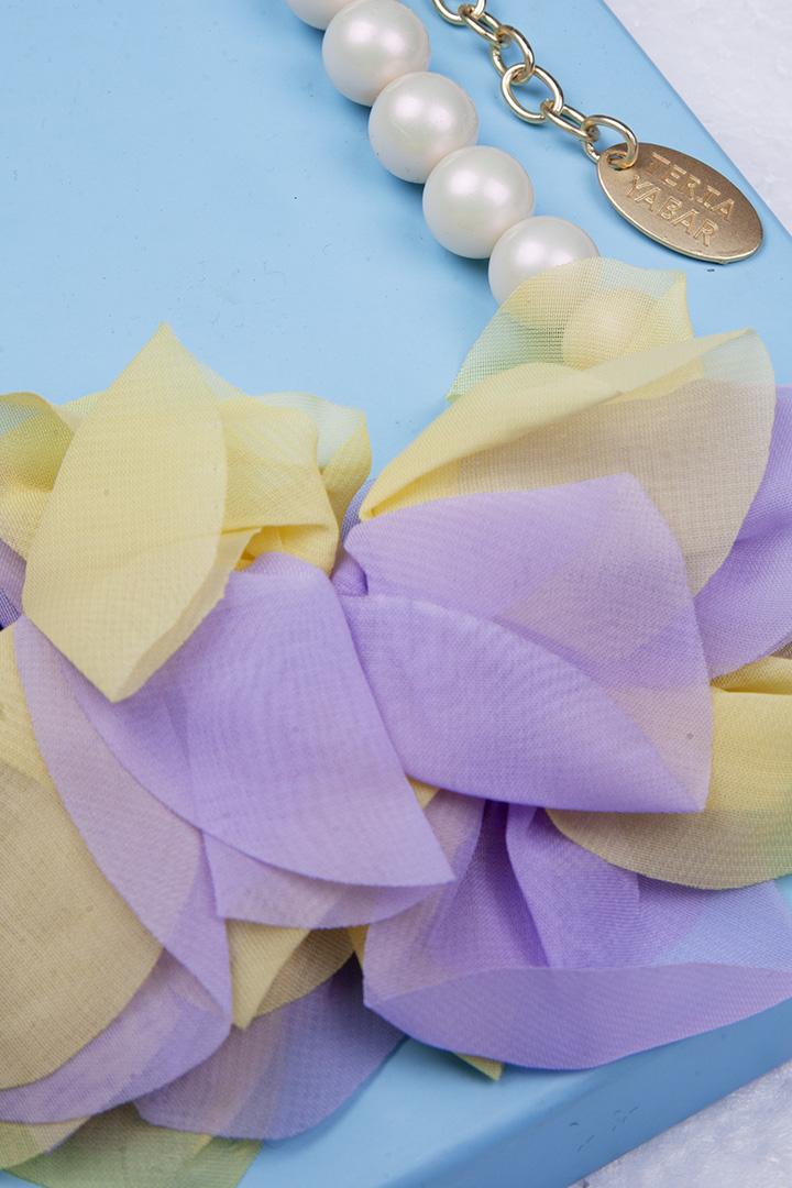 Collar Flor de Georgette Lila_1