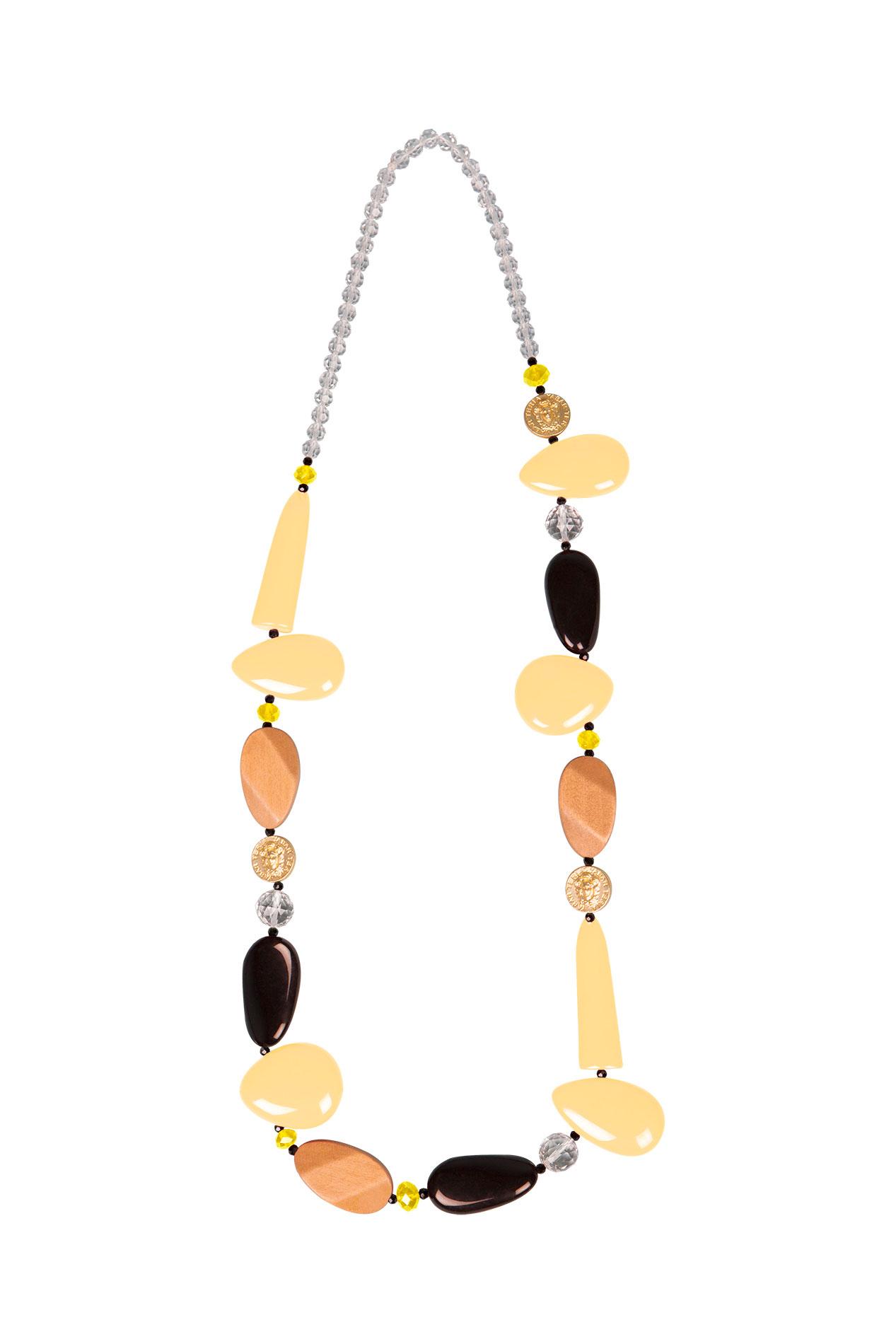 Teria Yabar - Collar largo amarillo y con madera