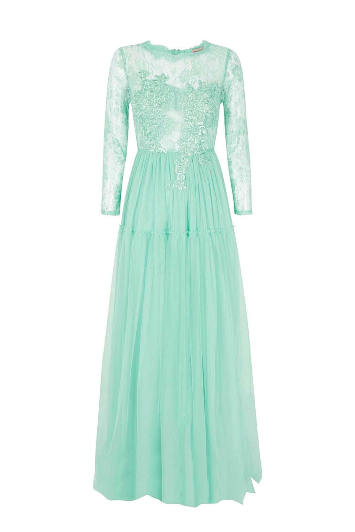 Teria Yabar - Vestido ópera verde agua