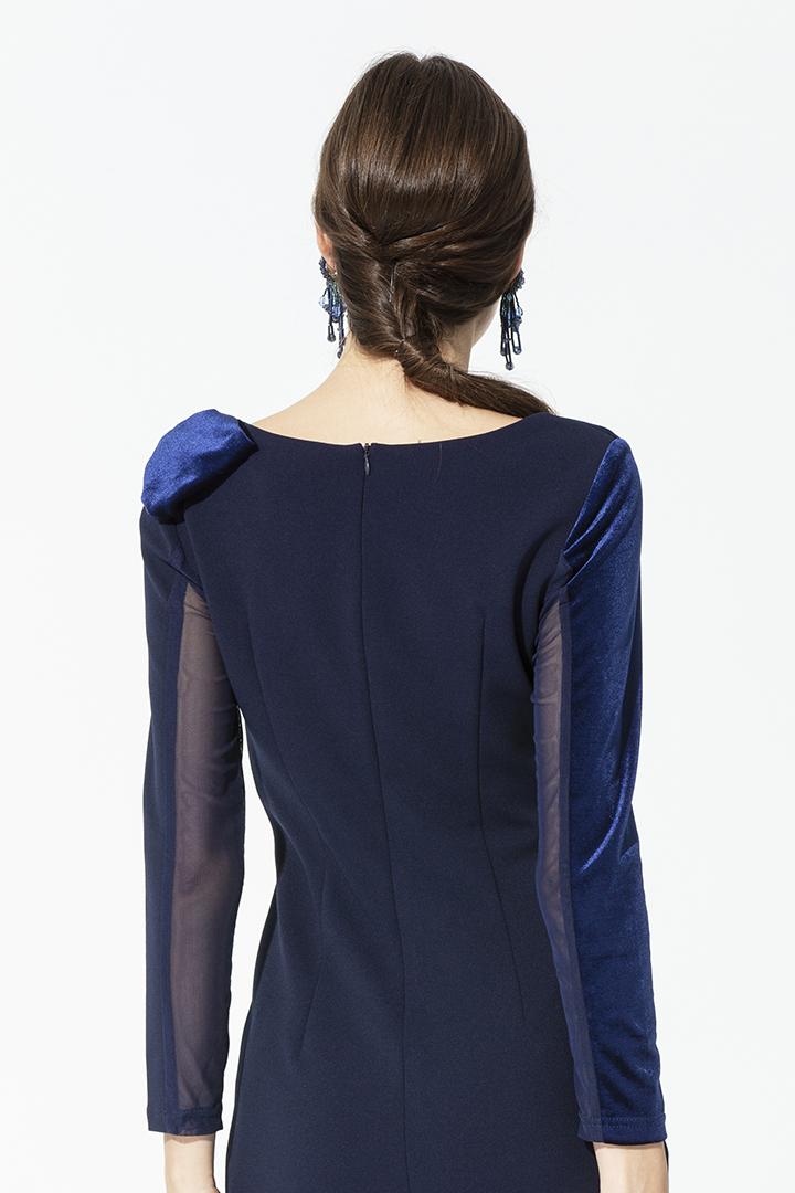 Vestido desigual en tonos azules