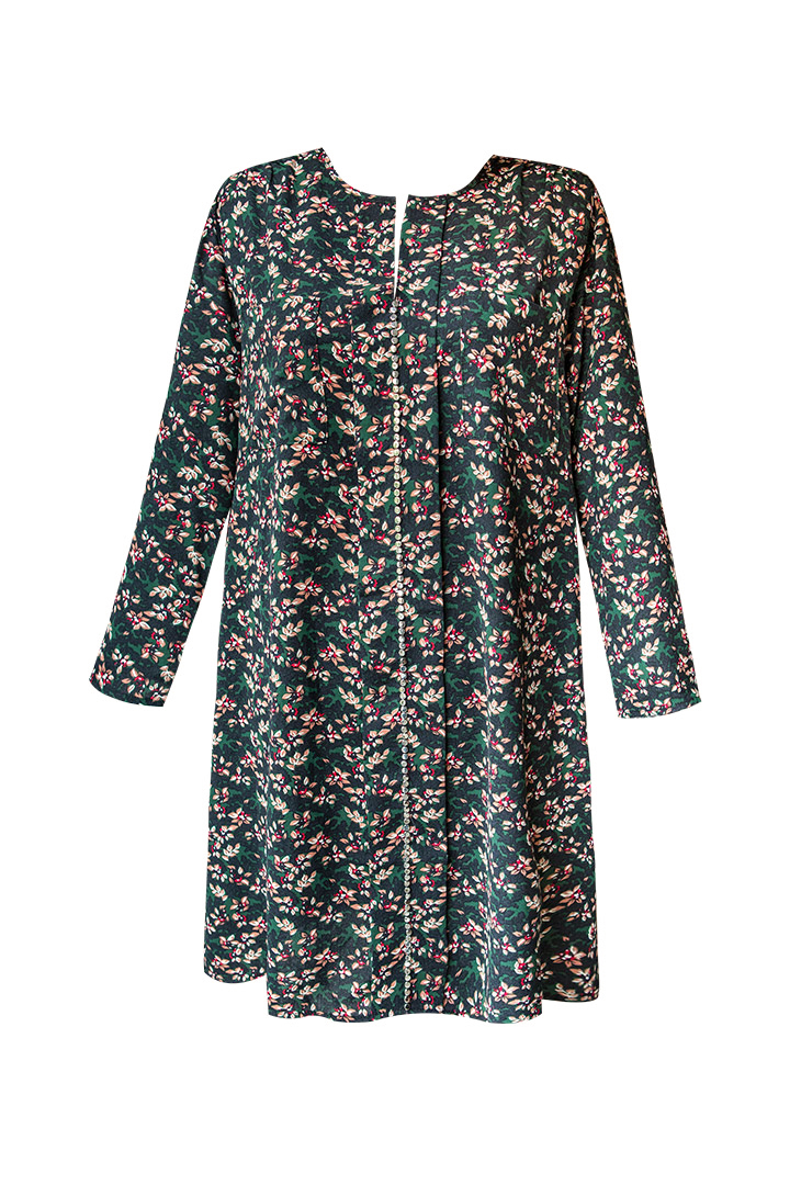 Vestido con tachuelas de estampado floral