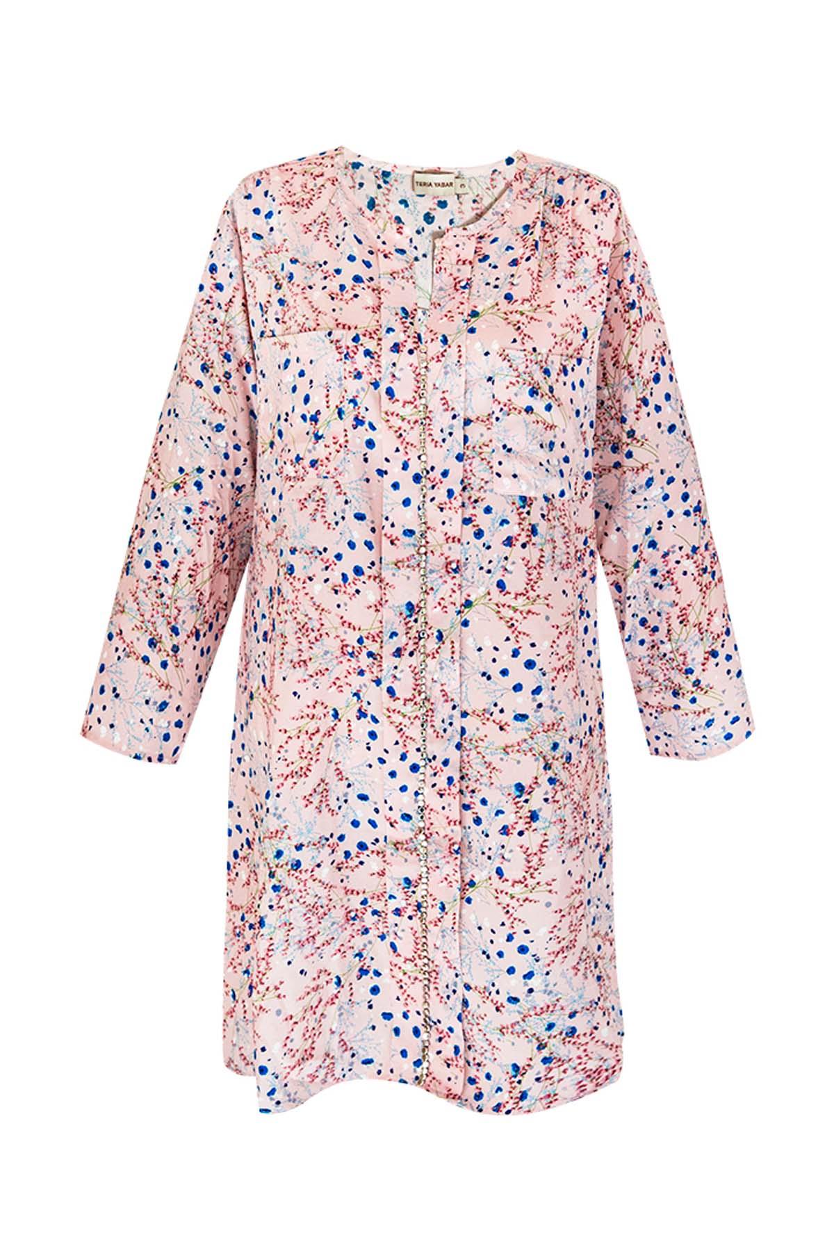 Teria Yabar - Vestido rosa de tachuelas