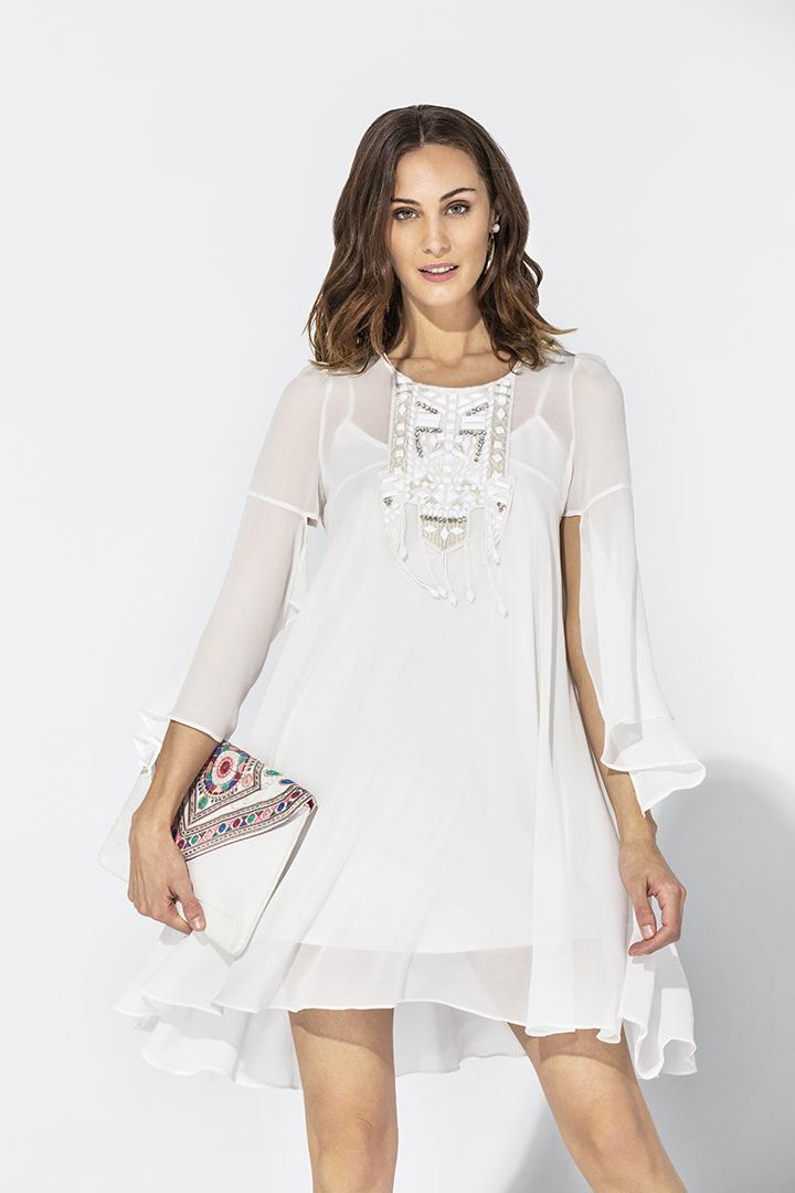 Teria Yabar - Vestido Kaftán blanco