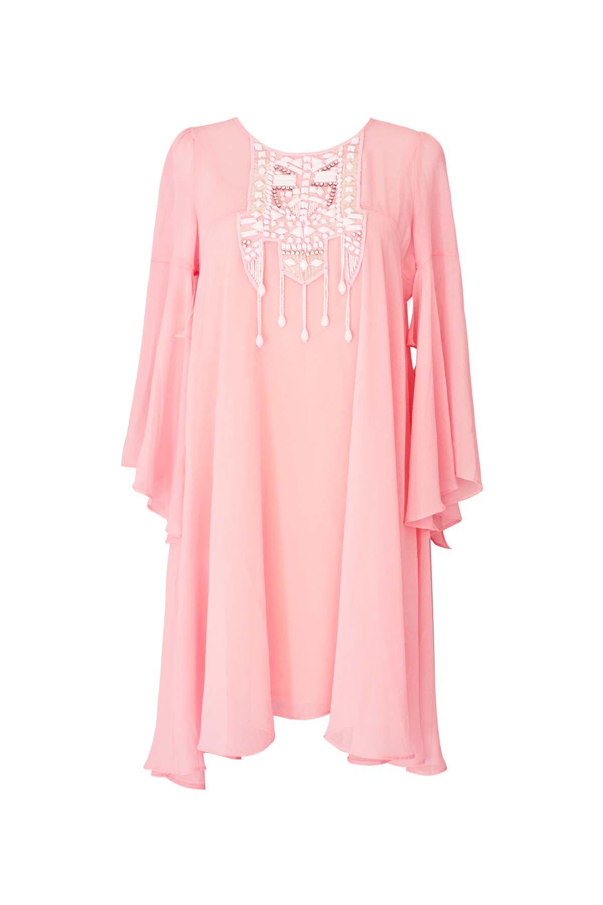 Teria Yabar - Vestido Kaftán rosa