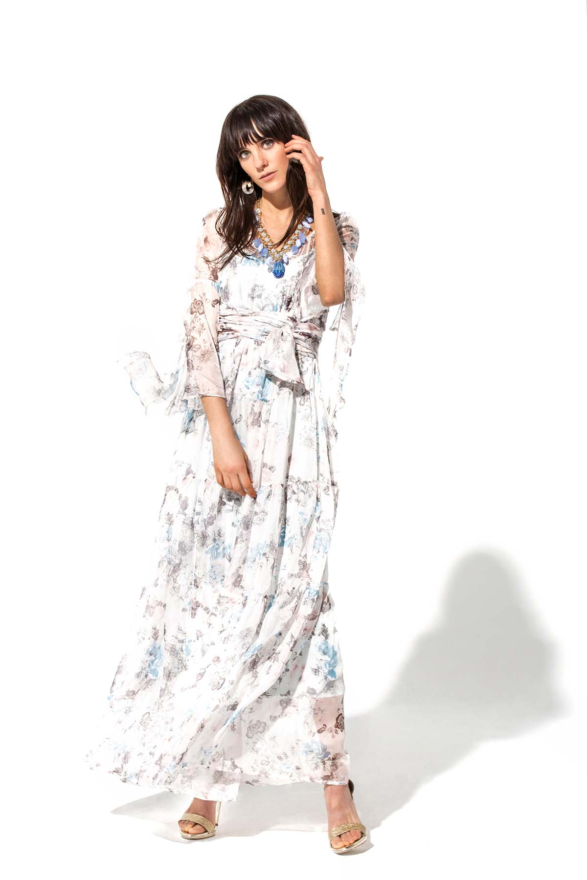 Teria Yabar - Vestido largo romántico