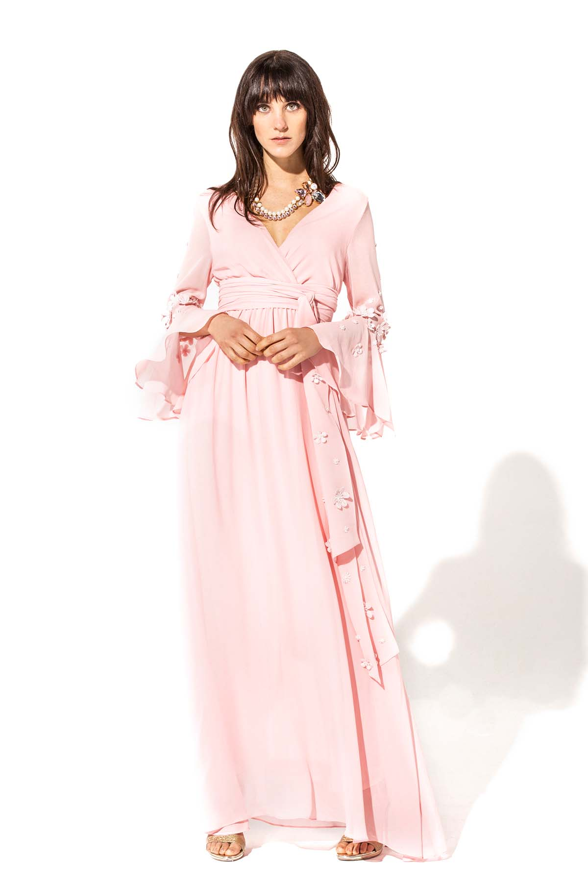 Vestido largo rosa fluido Teria Yabar - Vestido largo rosa fluido