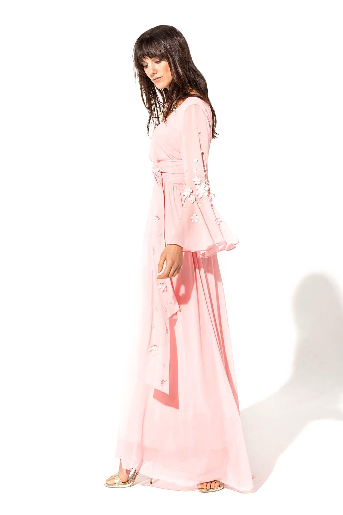 Vestido largo rosa fluido