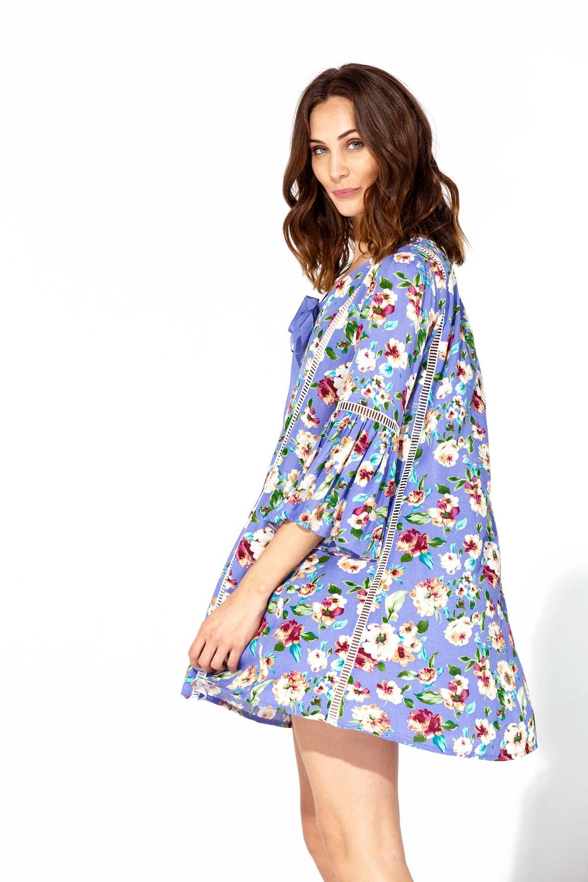 Vestido azul de flores Teria Yabar - Vestido azul de flores