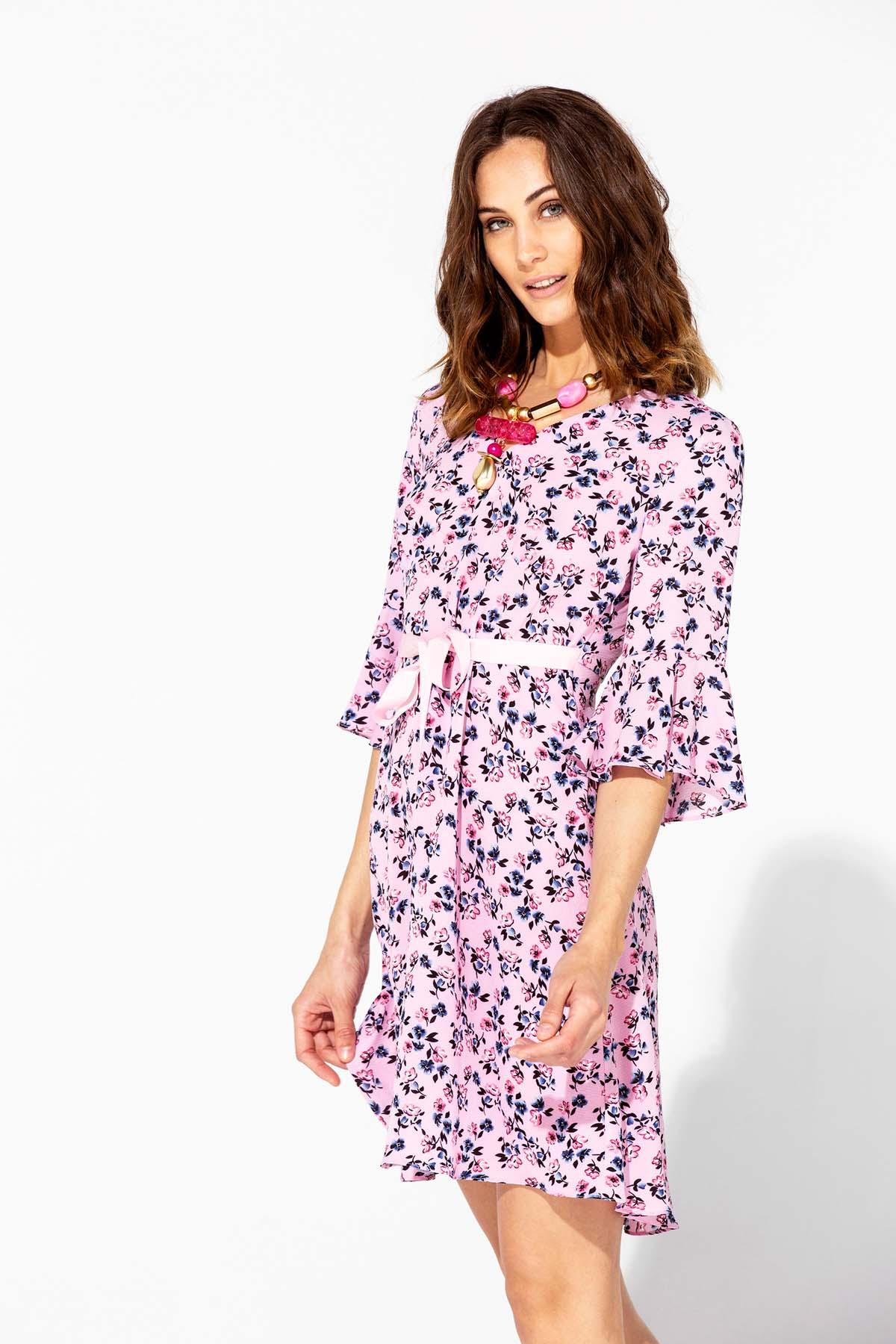 Vestido rosa de manga francesa Teria Yabar - Vestido rosa de manga francesa