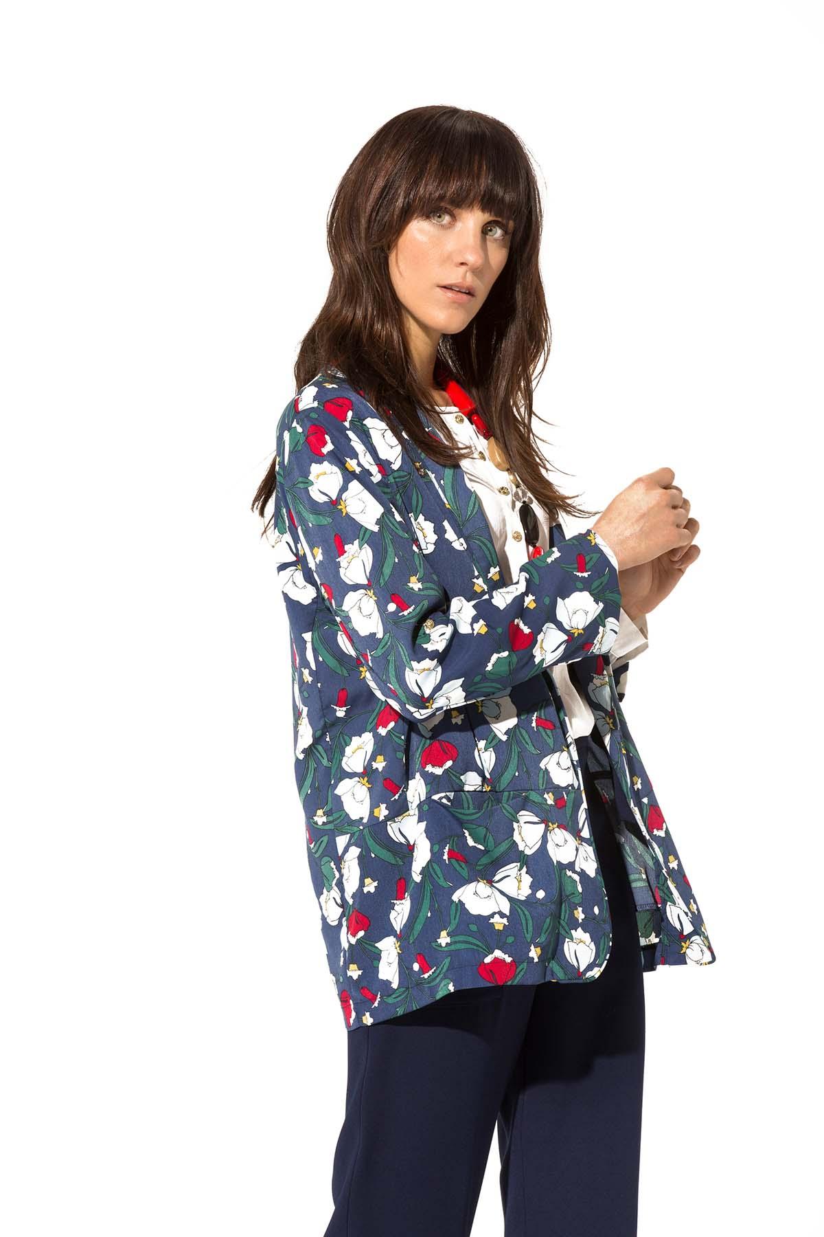 Teria Yabar - Maxi blazer jardín azul