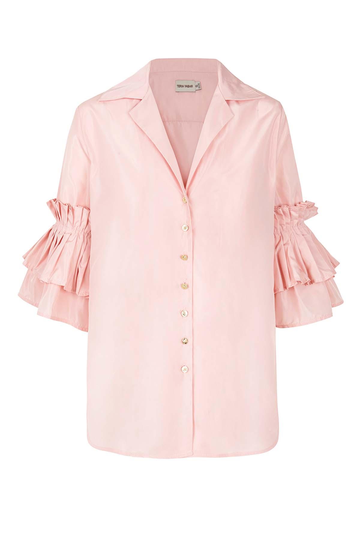 Teria Yabar - Camisa rosa de volantes