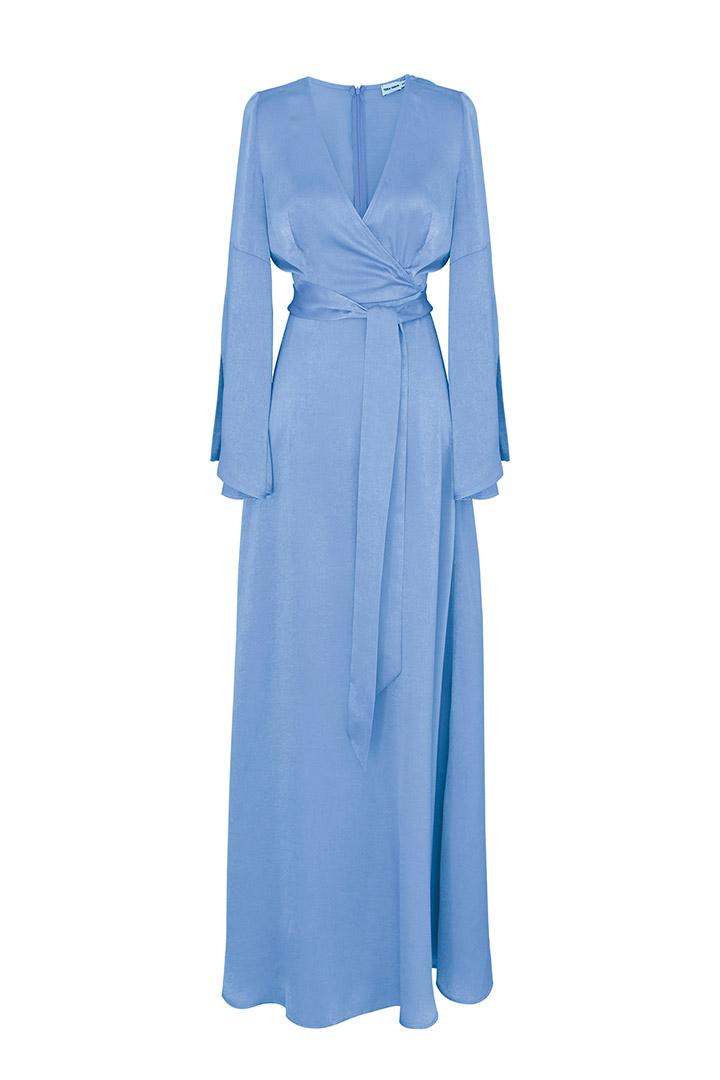 Vestido largo azul cielo