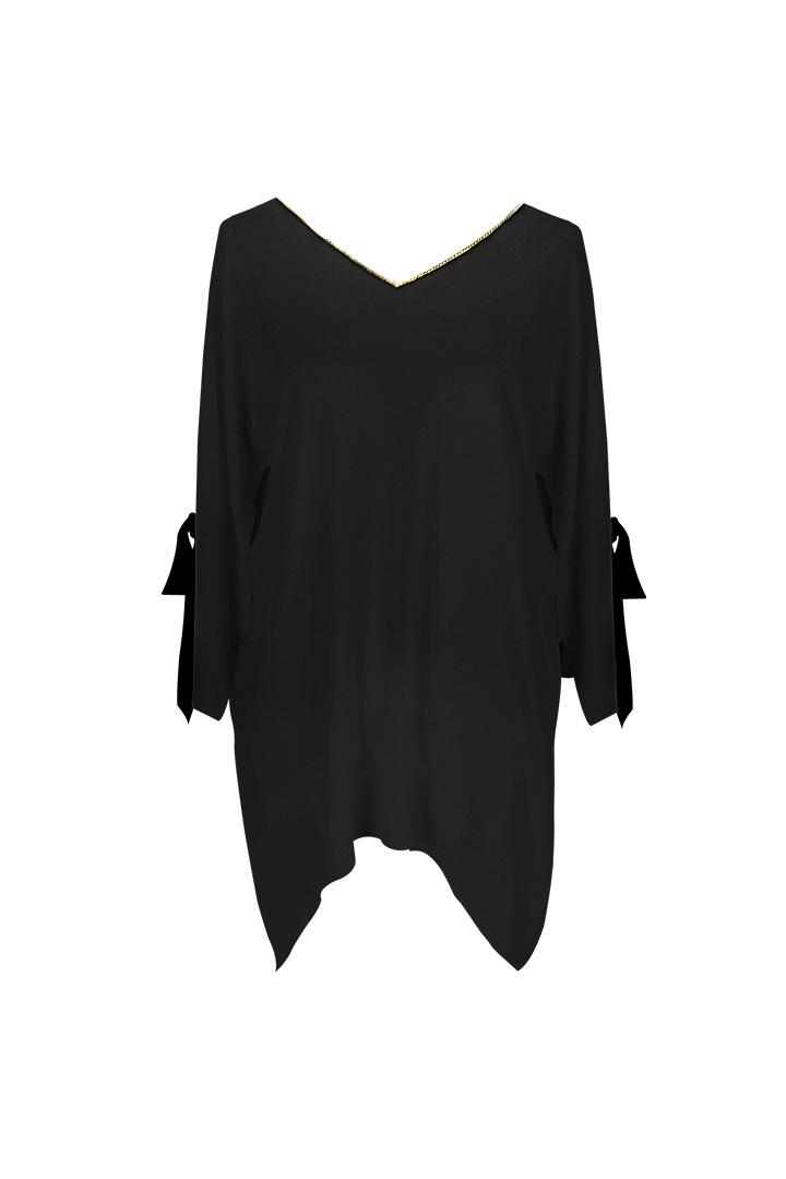 Teria Yabar - Blusón negro con lazos