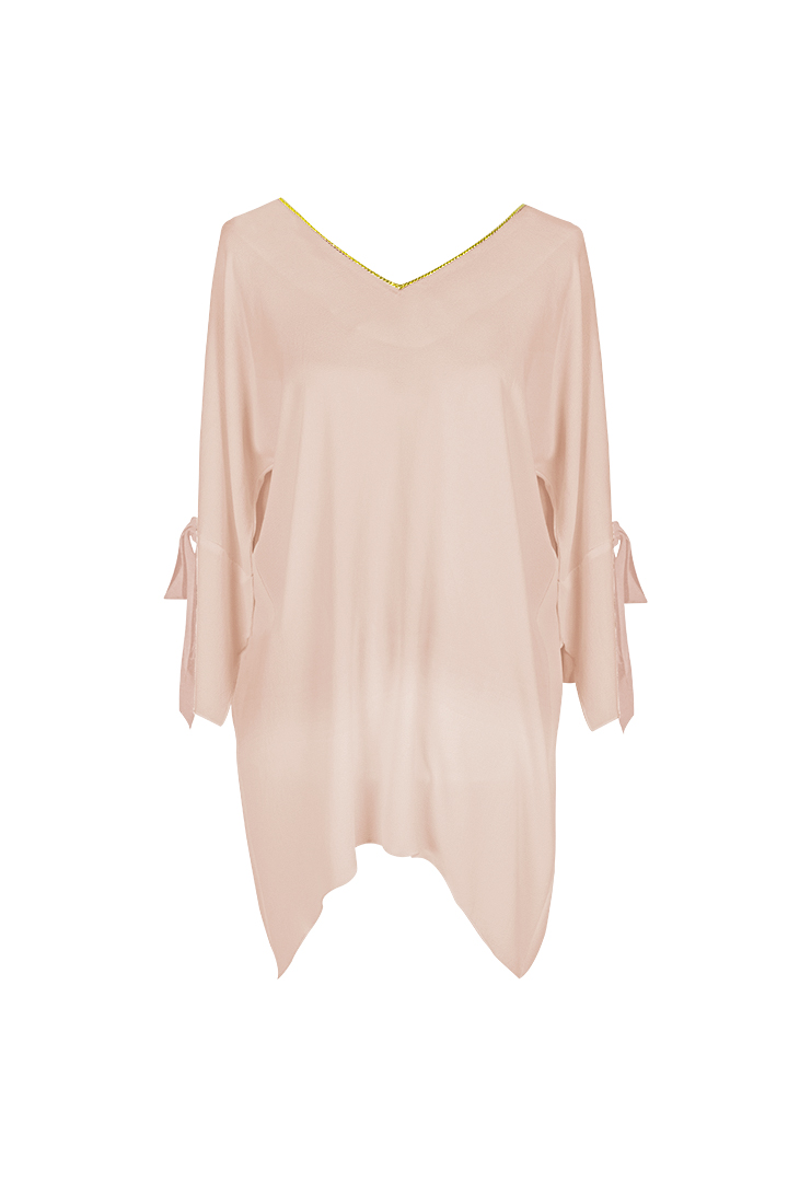Teria Yabar - Blusón rosa de lazos