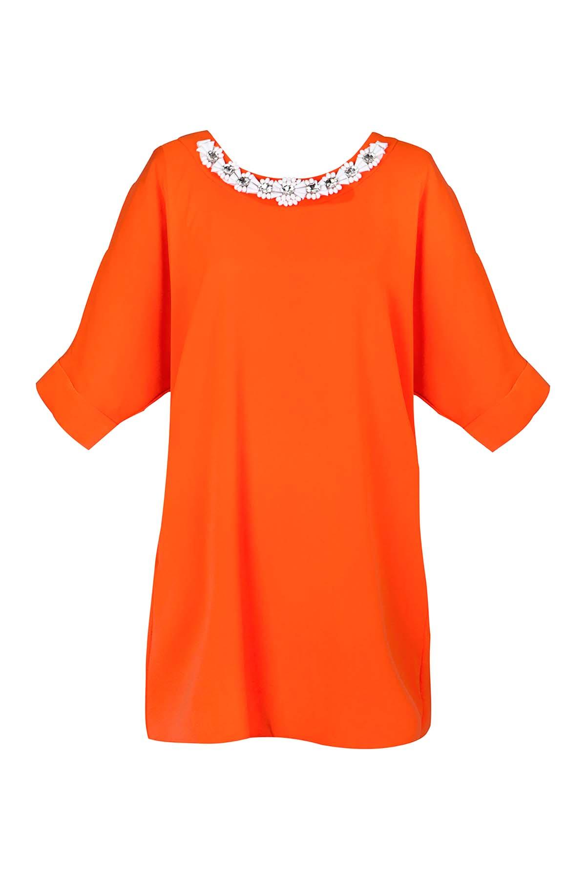 Teria Yabar - Vestido túnica naranja