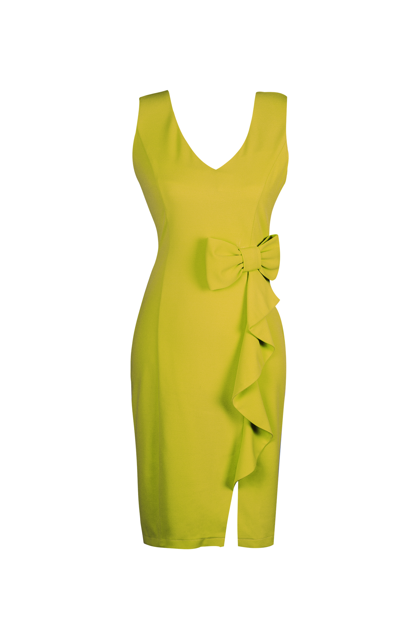 Teria Yabar - Vestido ajustado en color mostaza