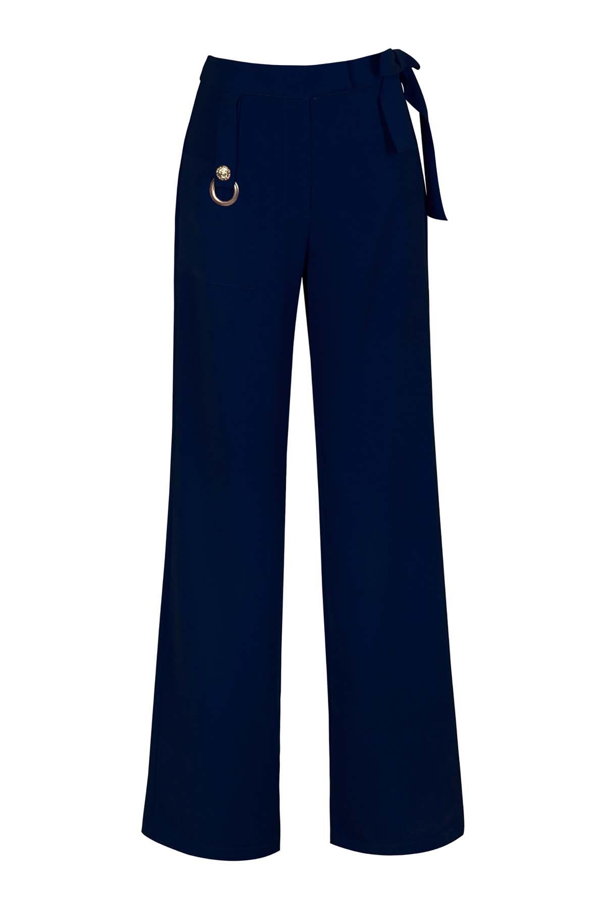 Teria Yabar - Pantalón azul recto