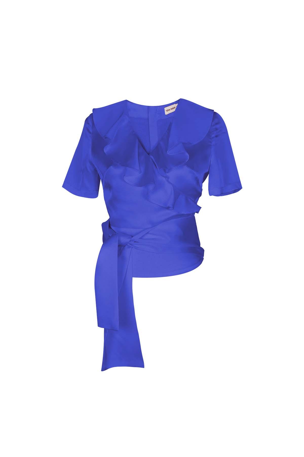 Teria Yabar - Top azul de escote cruzado