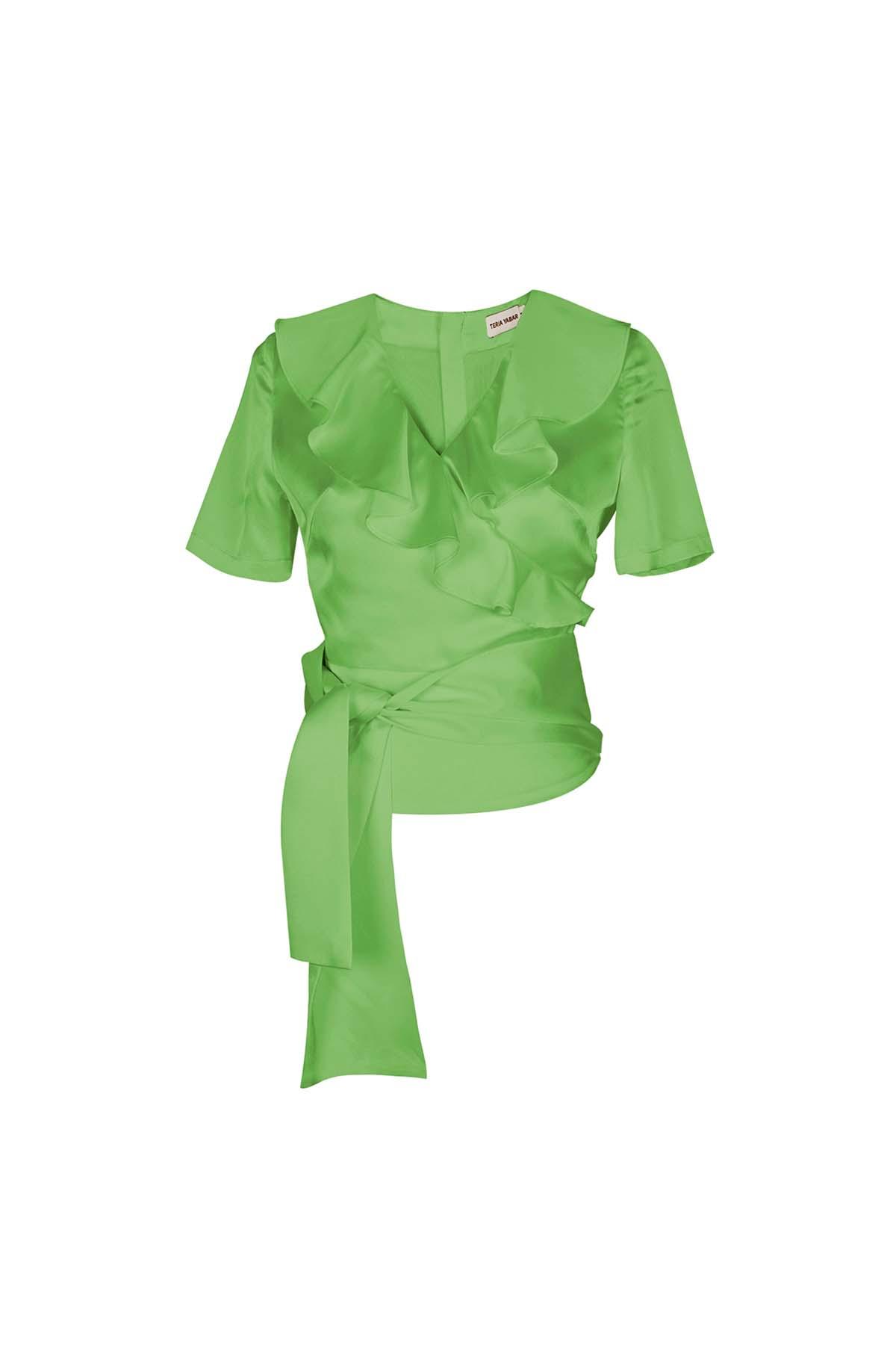 Teria Yabar - Top verde de escote cruzado