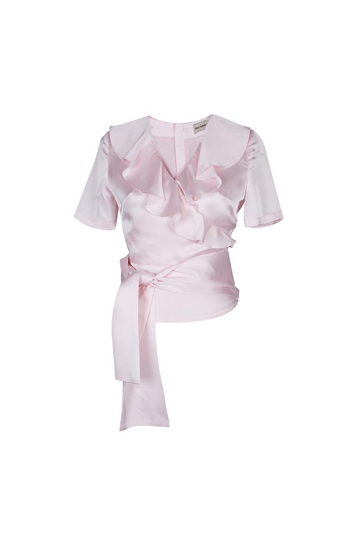 Teria Yabar - Top rosa claro de escote cruzado